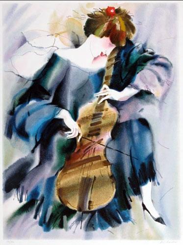 The cellist in blue print alexander klevan