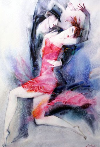 The dancing night watercolor alexander klevan