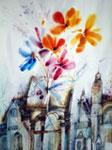 City flowers watercolor alexander klevan