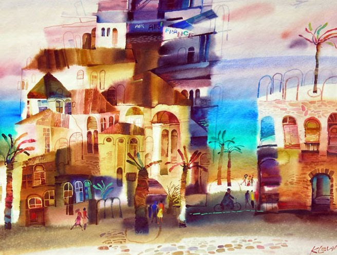 Town at the sea watercolor alexander klevan