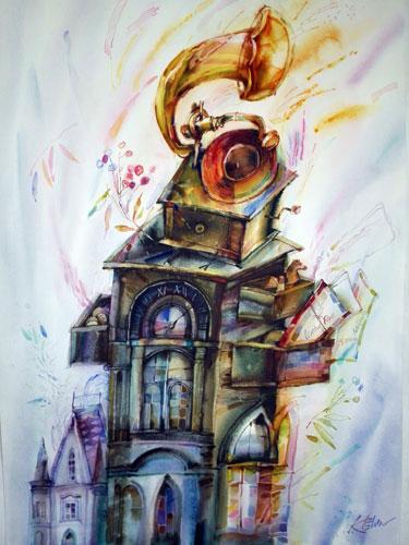 watercolor Old music  alexander klevan