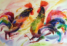 Roosters watercolor alexander klevan