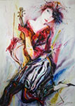 Violin dance watercolor alexander klevan