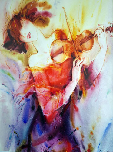 The violist in red watercolor alexander klevan